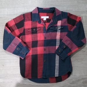 Burberry Children plaid flannel patched elbows shi